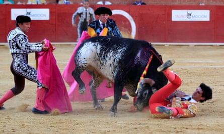 Spanish bullfighter Victor Barrio, 29, is gored in Teruel.