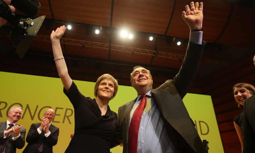 Say hello, wave goodbye: Nicola Sturgeon and Alex Salmond when they were close comrades rather than mortal enemies
