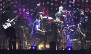 Coldplay rehearse for the Brit awards in London.