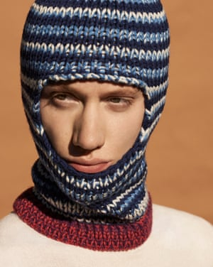 Model wears cream roll neck, £22, riverisland.com. Blue striped wool balaclava, £245, Calvin Klein 205W39nyc, brownsfashion.com