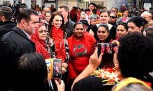 Jacinda Ardern meets supporters at an Auckland shopping mall, ahead of Saturday's election.