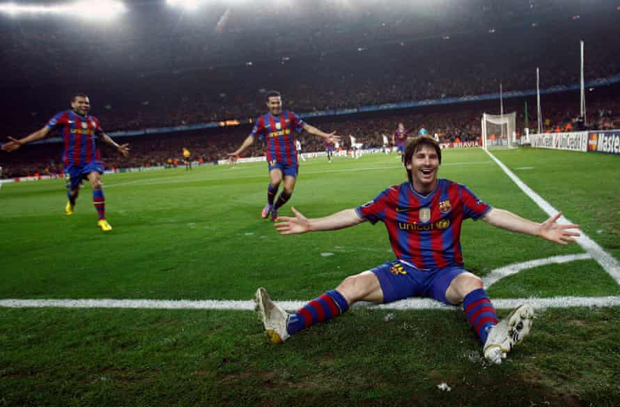 Lionel Messi celebrates after scoring one of his four goals against Arsenal during their Champions League quarter-final second-leg in 2010