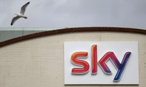 Logo at pay-TV giant Sky Plc's headquarters in Isleworth