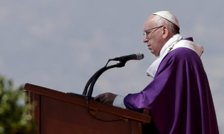 Pope Francis takes an open-air mass in Ecatepec, Mexico City.