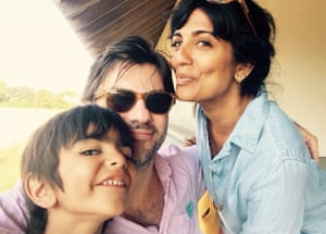 Mira Jacob with her husband Jed Rothstein and son in 2015.