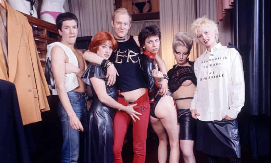 Sex bombs: (l-r) Steve Jones, regular customer Danielle, Alan Jones, Chrissie Hynde, Jordan and Vivienne Westwood pose at the shop in 1976.