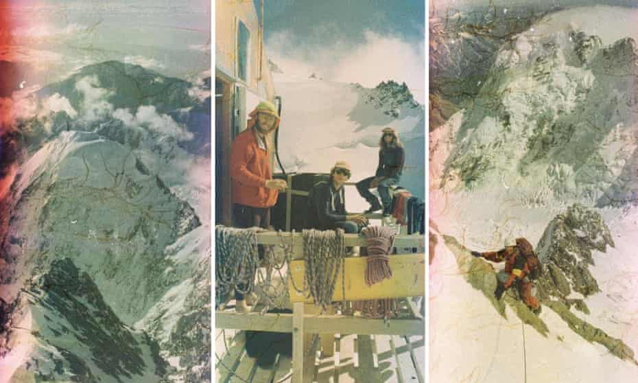 A composite of images from Richard Stiles camera showing Steve Robinson's last mountain ascent before he died.