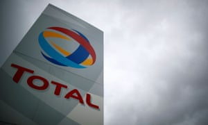 The logo of oil giant Total outside a refinery in Donges, France.