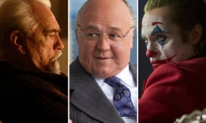 (L-R) Brian Cox as Logan Roy in Succession, Russell Crowe as Roger Ailes in The Loudest Voice and Joaquin Phoenix as the Joker.