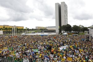 Supporters of Jair Bolsonaro before his inauguration in Brasilia