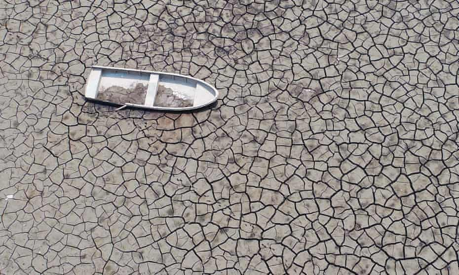 A dried-up reservoir bed in South Korea.