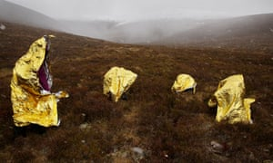 Time for a warm-up … dancers rehearse Into the Mountain in the Cairngorms.
