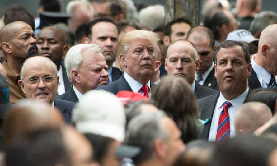 President-elect Donald Trump with potential cabinet appointees Rudy Giuliani, far left and Chris Christie, far right.