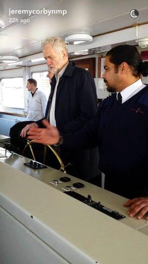 Jeremy Corbyn takes helm of ferry