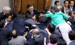 Japanese parliament scuffles