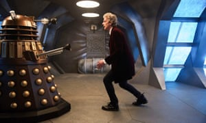 Peter Capaldi as the Doctor takes on a Dalek.