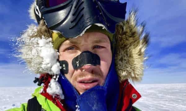 A selfie taken by Colin O'Brady in Antarctica.