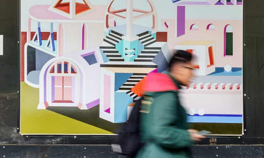 Painting a Perfect World by Jasmine Mansbridge – one of the augmented reality artworks on show in the Flinders Quarter of Melbourne