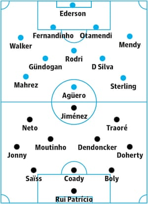 Manchester City v Wolves: Probable starters in bold, contenders in light.