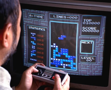 Soviet conspiracy? Tetris played on the Nintendo Entertainment System in 1990.