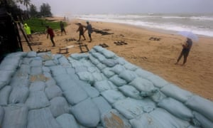 a wall of sandbags on the beach at Songkhla, Thailand
