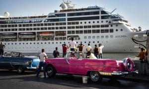 A Carnival liner arriving in Cuba