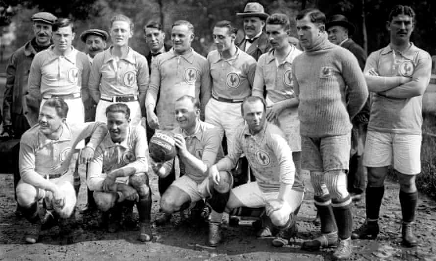 The France team after training for their first ever international against England in May 1923. Pierre Mony is fourth player from the left on the back row.