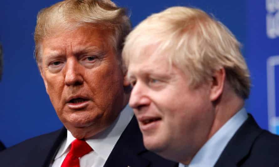 Boris Johnson and Donald Trump at the Nato leaders summit in Watford, UK, December 2019
