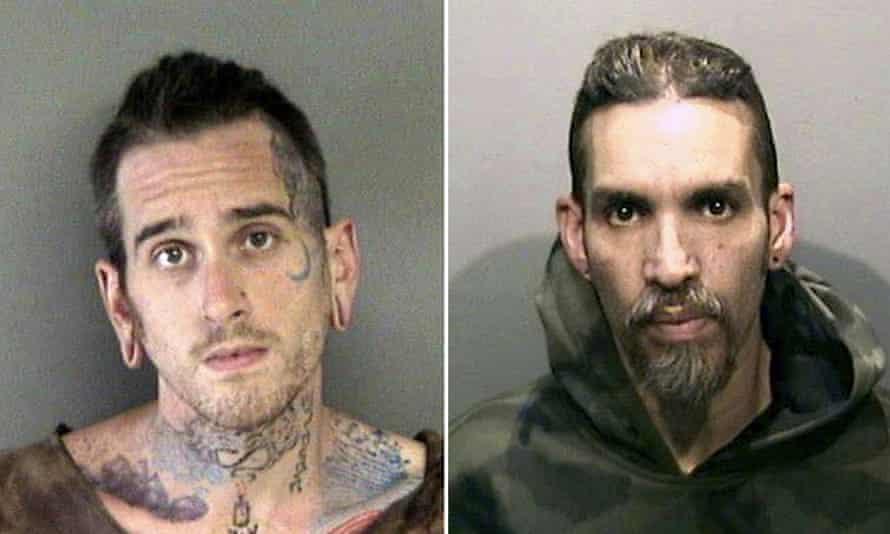 Max Harris, left, and Derick Almena at Santa Rita Jail in Alameda County, California in 2017.