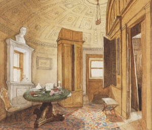 The Strangers' Room, Bell Rock, painted by RM Ballantyne in 1865. Perhaps the most extraordinary room ever created offshore – a library as civilised and elegant as any in townhouses of the Edinburgh New Town.