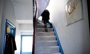 Sue Miles struggling upstairs