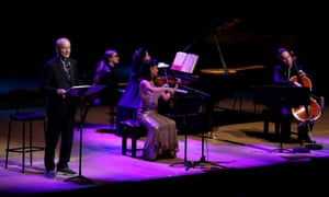 Bill Murray, Mira Wang and Jan Vogler on stage at the Royal Festival Hall.