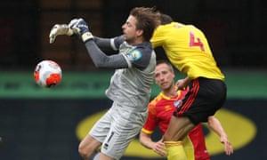 Craig Dawson of Watford foul on Tim Krul of Norwich City.
