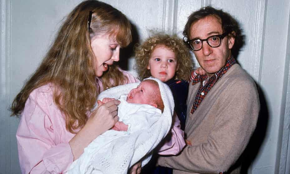Mia Farrow, left and Woody Allen, right, with baby Satchel (now Ronan) and Dylan Farrow.
