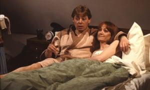 Hywel Bennett as Shelley, with Belinda Sinclair as his girlfriend, Fran, in an episode of Shelley.