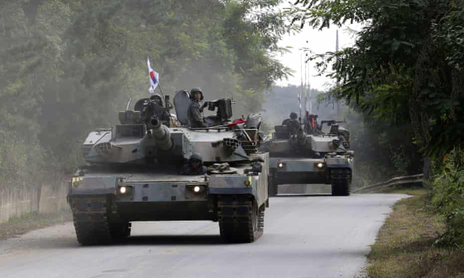 South Korean tanks take part in exercises in Paju, near the border with North Korea, on 4 September.