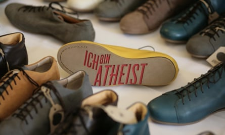 Atheist shoes for sale at the World Humanist Congress.
