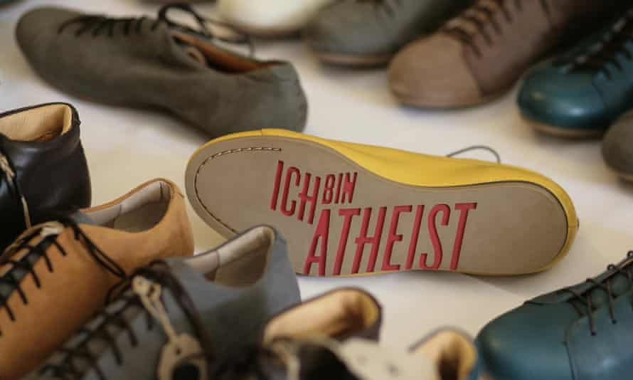 Atheist shoes on sale at the World Humanist Congress, Oxford.