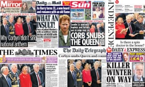 Composite of newspaper front pages reporting on Jeremy Corbyn not singing the national anthem