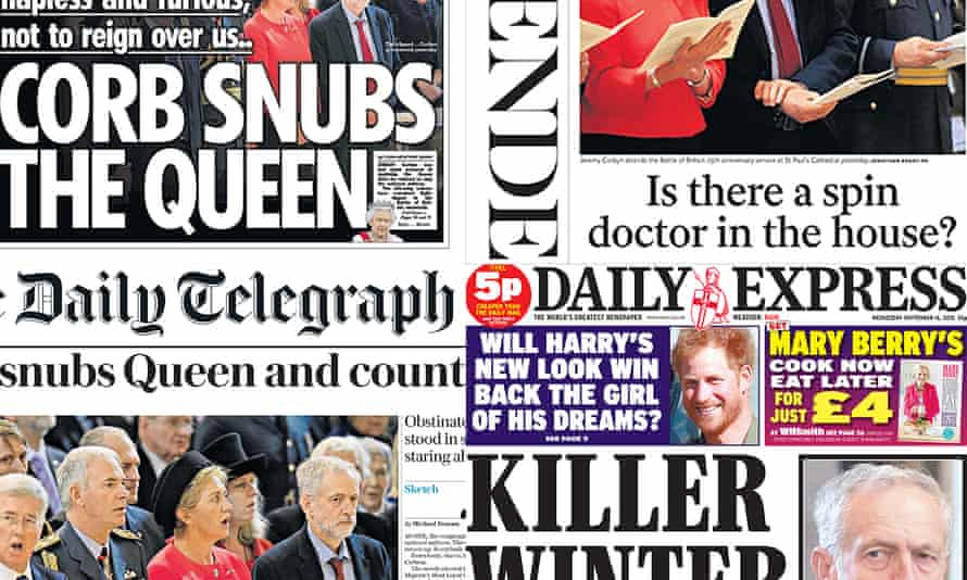 Today's newspaper front pages on Jeremy Corbyn not singing the national anthem.