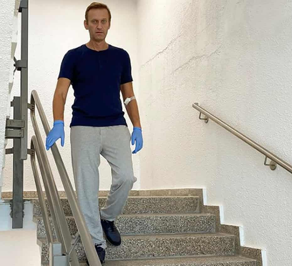 Alexei Navalny goes downstairs at Charité hospital in Berlin, Germany