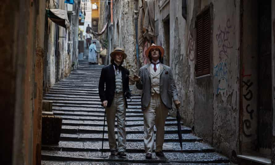 Destructive relationship … Colin Morgan as Bosie Douglas and Rupert Everett as Oscar Wilde in The Happy Prince