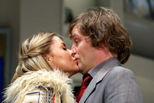 Patsy Kensit and Ardal O'Hanlon starred in Harwood's comedy See You Next Tuesday at the Albery, London, in 2003.