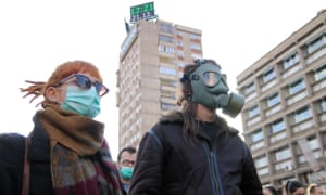 Demonstrators gather in Zenica city centre to protest against air pollution