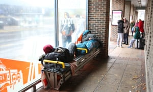 Rough sleepers at a bus shelter in Darlington town centre