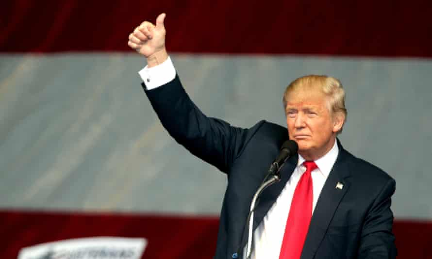 Republican presidential candidate Donald Trump gestures during a campaign rally on Wednesday in Henderson, Nevada.