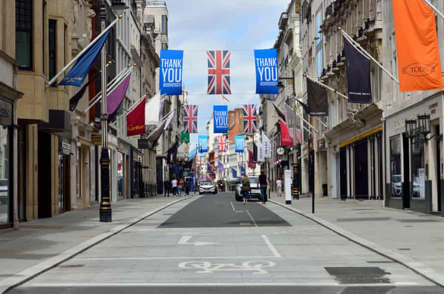 A nearly deserted Bond Street, displaying essential worker Thank You banners during lockdown.