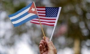 A Cuban and US flag