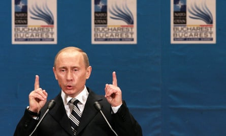 Vladimir Putin after a Nato-Russia Council meeting in Bucharest.