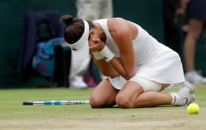 Garbine Muguruza cries as she wins the womens singles title after victory over Venus Williams